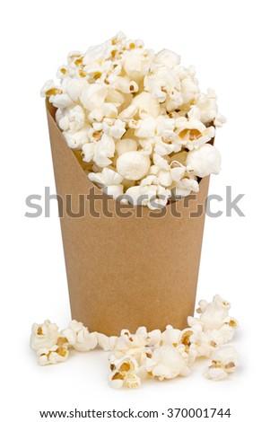 bucket full of pop corn isolated on white - stock photo