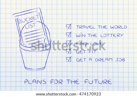 bucket list of common lifestyle dreams and goals ticked off version