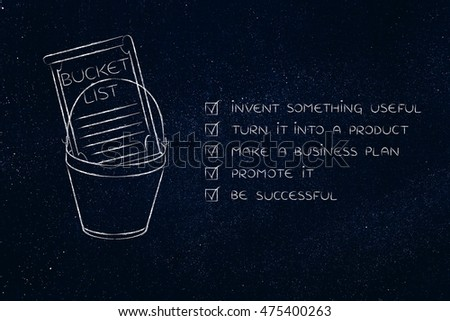 Bucket List Entrepreneurial Success Dreams Invent Stock Illustration