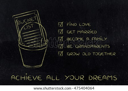 bucket list of private life-related dreams and goals, love and family (checklist version)