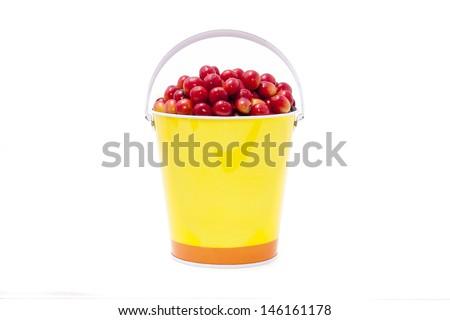 bucket of cherry-like coffee bean - stock photo