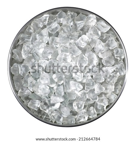Bucket of crushed ice from top including clipping path - stock photo