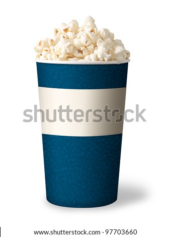 bucket of popcorn isolated on white background. blue color.