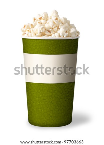 bucket of popcorn isolated on white background. green color.