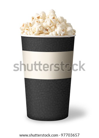 bucket of popcorn isolated on white background. grey color.