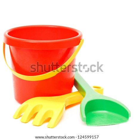 bucket rake and scoop, toys, isolated on white
