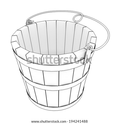 bucket realistic. isolated white background. 3d - stock photo