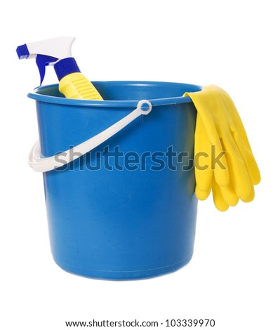 bucket with a bottle and gloves isolated on white background