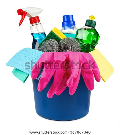 bucket with household cleaners and products on white background