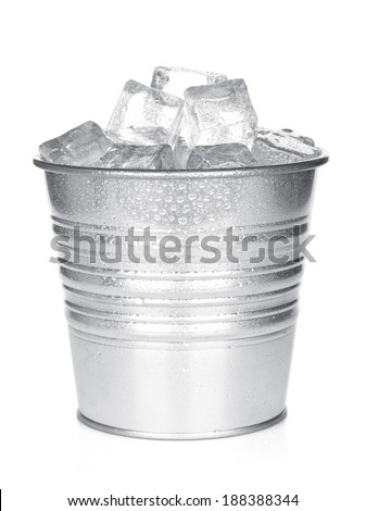 Bucket with ice cubes. Isolated on white background - stock photo