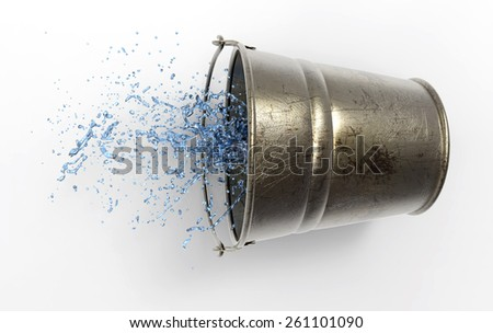 Bucket with splashing water in 3D, isolated with a clipping path - stock photo