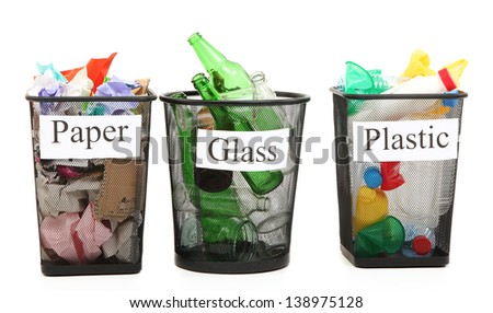 Buckets for waste sorting  isolated on white - stock photo