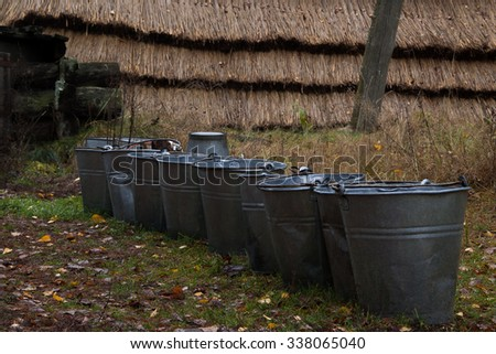 Buckets in village