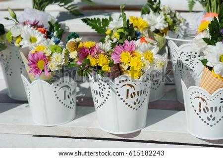 Buckets beautiful purple white flowers prepared stock photo edit buckets of beautiful purple and white flowers prepared for wedding ceremony or another festive event mightylinksfo