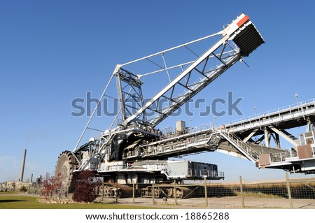 Bucketwheel reclaimer, used at oil sands mines in Alberta, Canada - stock photo
