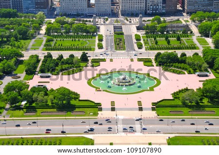 Buckingham Fountain, Grant Park, Chicago - stock photo