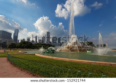 Buckingham fountain in Grant Park, Chicago, USA. - stock photo