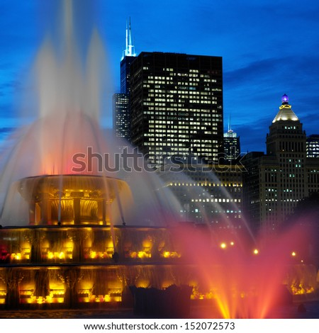Buckingham Memorial Fountains in Grant Park on the shore of Lake Michigan in Chicago, Illinois, United States of America