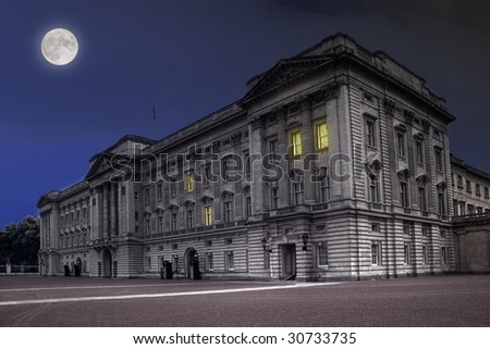 Buckingham Palace in London at night - stock photo
