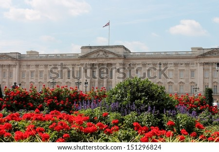Buckingham Palace in London England where Queen lives - stock photo