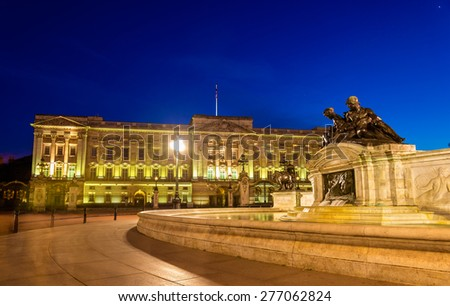 Buckingham Palace in the evening - London, England - stock photo