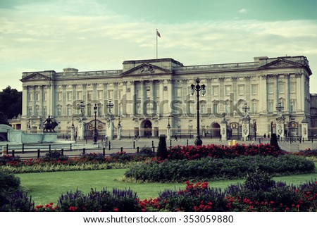 Buckingham Palace in the morning in London. - stock photo