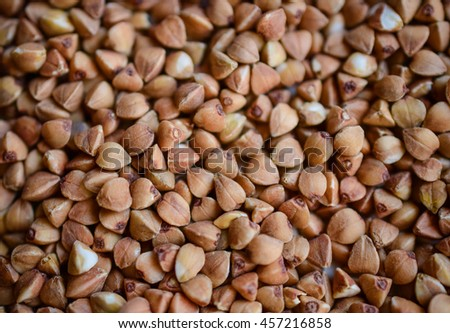 Buckwheat groats  texture,flat lay ,background