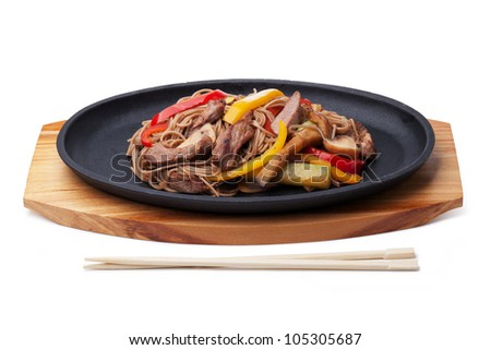 buckwheat noodles with beef,  japanese cuisine