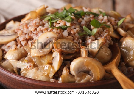 Buckwheat porridge with mushrooms and onions in a bowl close-up. horizontal