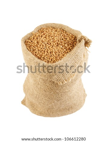 Buckwheat sack isolated on white background