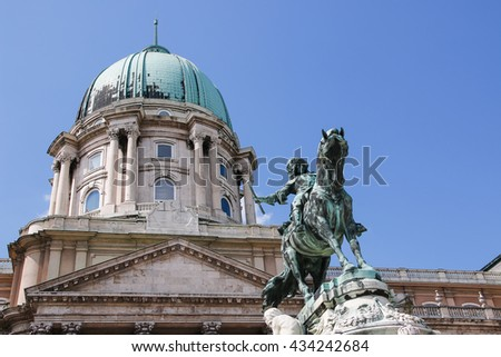 Buda Castle and Monument of Prince Eugene of Savoy, Budapest, Hungary - stock photo