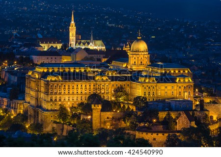 Buda Castle as seen from Gellert Hill in Budapest - stock photo