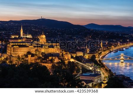 Buda Castle overlooking the Chain Bridge in Budapest - stock photo