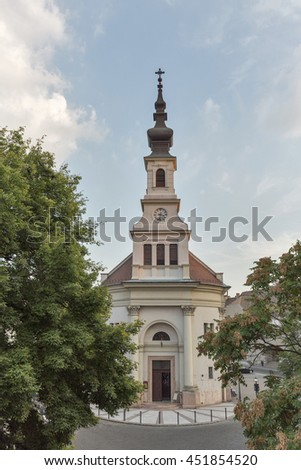 Buda Lutheran Church in Budapest, Hungary. Old town district.
