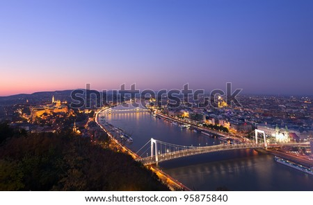 Budapest and Danube at night - stock photo