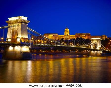 Budapest at night. Chain Bridge, Royal Palace and Danube river - stock photo