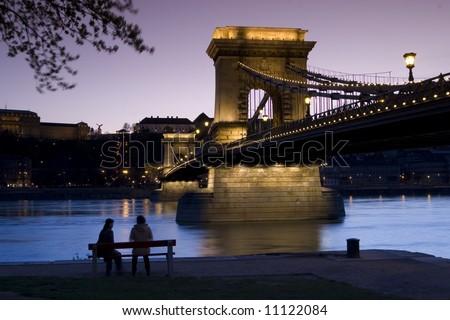 Budapest at nightfall - stock photo