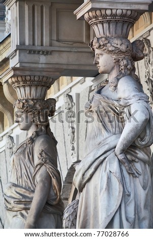 Budapest building - detail from Andrassy street - stock photo