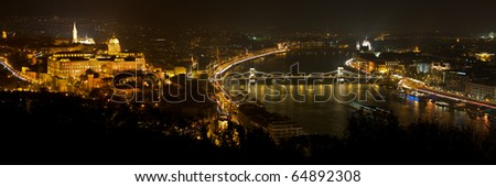 Budapest by night / Buda Castle and the Danube - stock photo