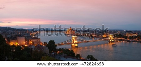 Budapest by night with Szechenyi Chain Bridge and Hungarian parliament building