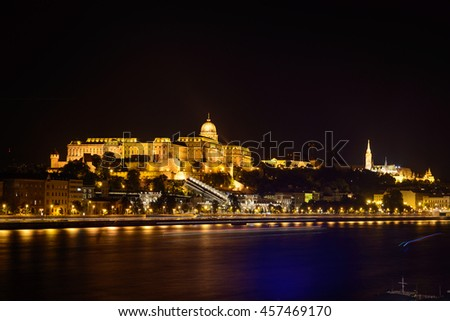 Budapest Castle at night from danube river, Hungary