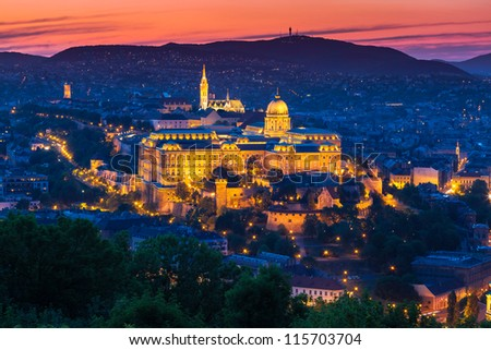 Budapest Castle at Sunset, Hungary - stock photo