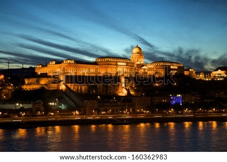 Budapest castle by sunset