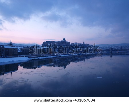 Budapest castle - sunset in winter