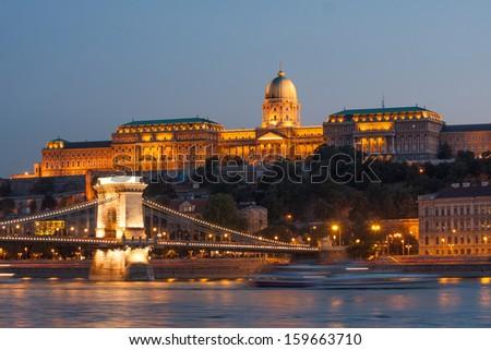 Budapest Chain Bridge, Royal Palace and Danube  - stock photo