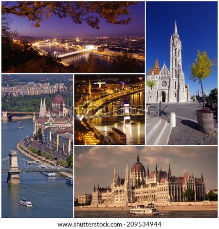 Budapest city set collage of photos - stock photo