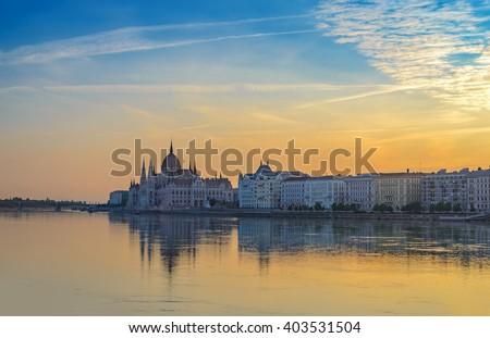 Budapest city skyline when sunrise, Hungary - stock photo