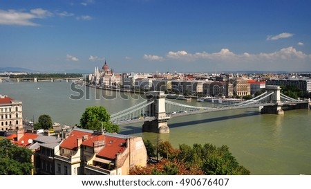 Budapest city  view chain bridge
