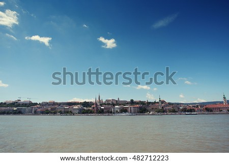 Budapest city view, Danube river. Toned photo