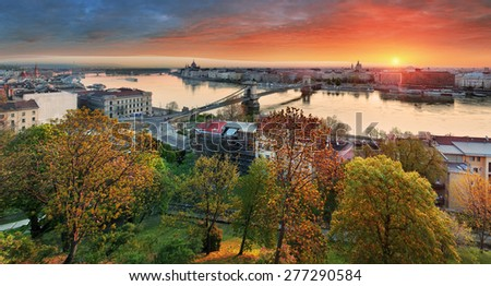 Budapest cityscape at sunrise, panorama of Hungary - stock photo